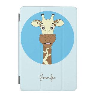 Blaue Namenskinder des lustigen Giraffen-Cartoon iPad Mini Cover