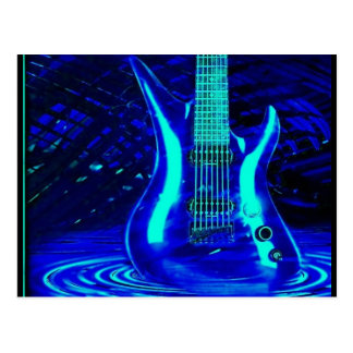 Blaue Neongitarre Postkarte