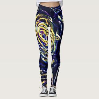 Blaue NeonRosen Leggings