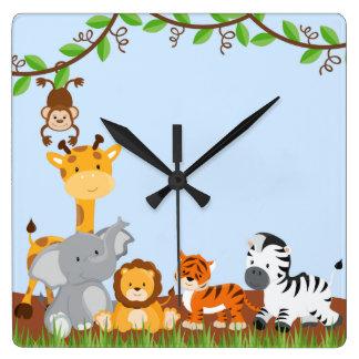 Blaue niedliche Dschungel-Baby-Tier-Wand-Uhren