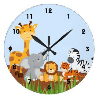 Blaue niedliche Dschungel-Baby-Tier-Wand-Uhren Uhr