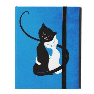 Blaue niedliche weiße und schwarze Katzen im iPad Hülle