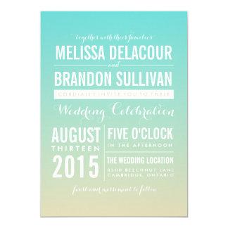 Blaue Ombre/Steigungs-Hochzeits-Einladungen 12,7 X 17,8 Cm Einladungskarte