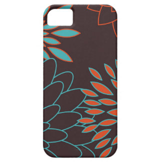 Blaue Orange und moderne Blumen Browns iPhone 5 Hüllen