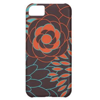 Blaue Orange und moderne Blumen Browns Hüllen Für iPhone 5C