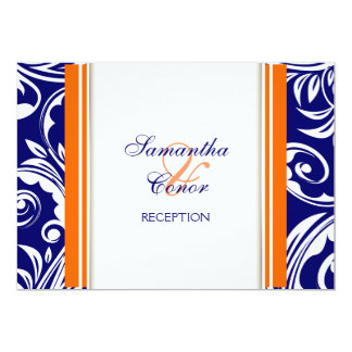 Blaue orange weiße Hochzeits-Verlobung 12,7 X 17,8 Cm Einladungskarte