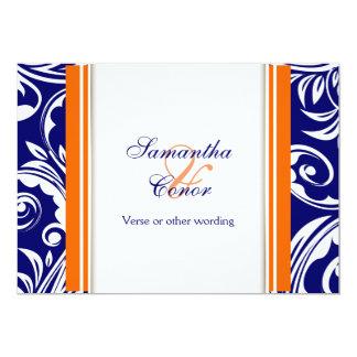 Blaue orange weiße Hochzeits-Verlobung Personalisierte Ankündigungskarte