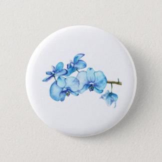 Blaue Orchideen-botanische Kunst Runder Button 5,7 Cm