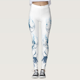Blaue Orchideen Leggings