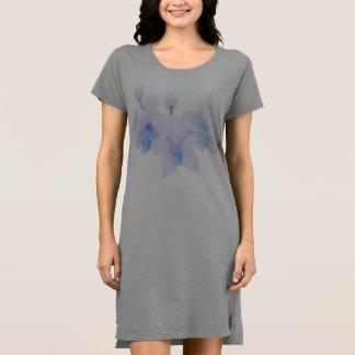 Blaue Orchideen-T-Shirt Kleid