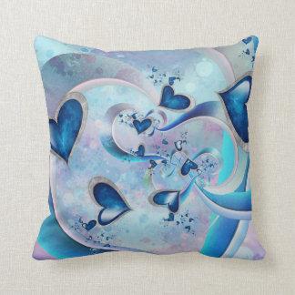 Blaue Ozean-Herz-Fraktal-Juwelen Kissen