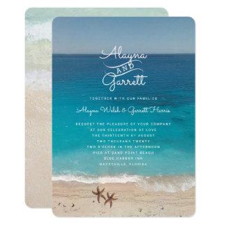 Blaue Ozean-Strand-Zeremonie-Hochzeits-Einladung Karte