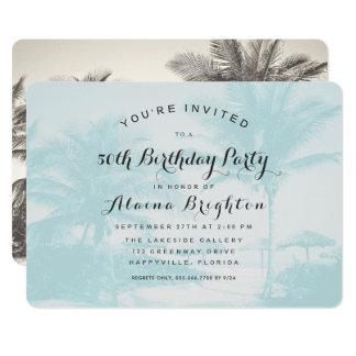Blaue Palme-kundenspezifische Geburtstags-Party Karte