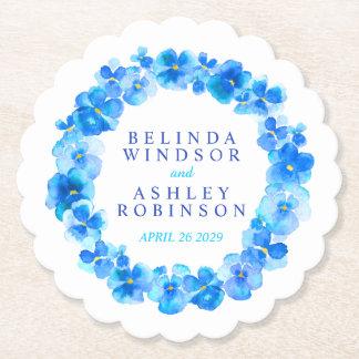 Blaue Pansy-Blume Wreath Untersetzer