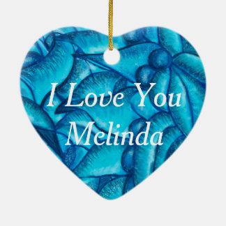 Blaue personalisierte i-Liebe Sie Herz-Anhänger Keramik Herz-Ornament