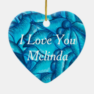 Blaue personalisierte i-Liebe Sie Herz-Anhänger Keramik Ornament