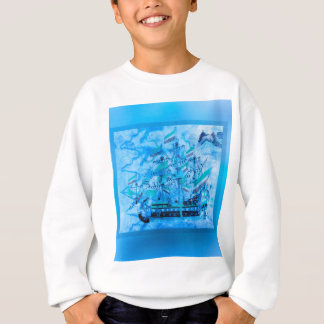 Blaue Piraten-Schiffs-Seeozean-Wellen Sweatshirt