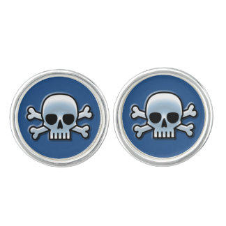 Blaue Piratenflagge Manschettenknöpfe