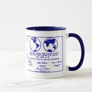 """Blaue """"PLAN APOLLO PLAQUE/MISSION"""" Kaffee-Tasse Tasse"""
