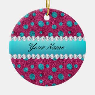 Blaue Polka-Punkt-heißes Rosa-Imitat-Diamanten Keramik Ornament