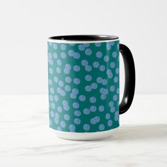 Blaue Polka-Punkte 15 Unze-Wecker-Tasse Tasse