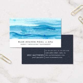 Blaue Pool-Sorgfalt oder Schwimmen der Visitenkarte