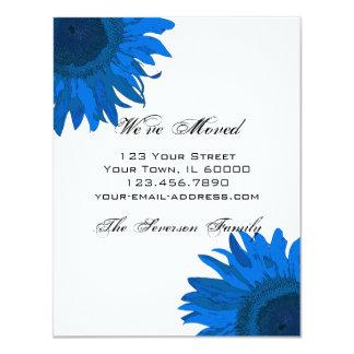 Blaue Pop-Kunst-Sonnenblume-Adressenänderung Karte 10,8 X 14 Cm Einladungskarte