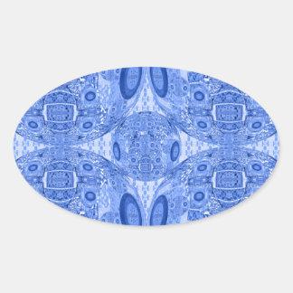 Blaue psychedelische Bereiche Ovaler Aufkleber