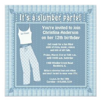 Blaue Pyjama-Schlummer-Party Einladung