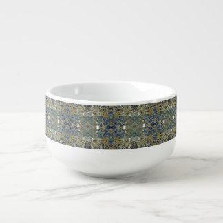 blaue Quermustersuppen-Tasse Große Suppentasse