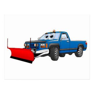 Blaue R heben Schnee-Pflug-Cartoon auf Postkarte