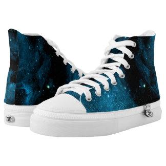 Blaue Raum-Galaxie Hoch-geschnittene Sneaker