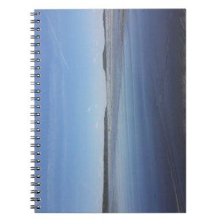 Blaue Reflexionen des Rhossili Bucht-Notizbuches Spiral Notizblock