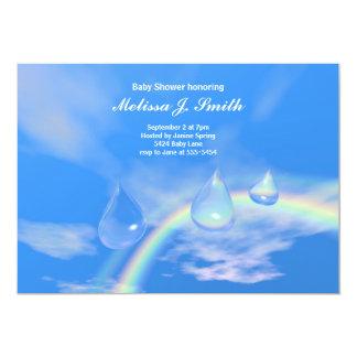 Blaue Regenbogen-Tropfen für Jungen-Babyparty 12,7 X 17,8 Cm Einladungskarte