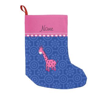 Blaue retro Blumen der personalisierten rosa Kleiner Weihnachtsstrumpf