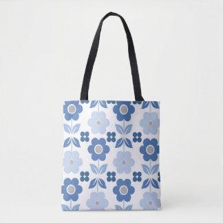 Blaue Retro Blumen u. Polka ganz vorbei - drucken Tasche