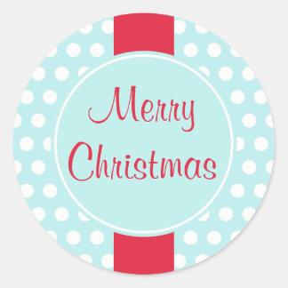 Blaue Retro frohe Weihnacht-Aufkleber Runder Aufkleber