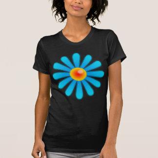 Blaue Retro Pixel-Blume T-Shirt