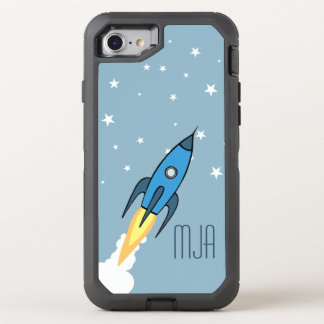 Blaue Retro Rocketship Monogramm-Kinder OtterBox Defender iPhone 8/7 Hülle