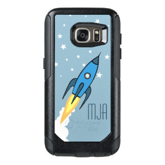 Blaue Retro Rocketship personalisierte OtterBox Samsung Galaxy S7 Hülle