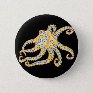 Blaue Ring-Krake auf Schwarzem Runder Button 5,7 Cm
