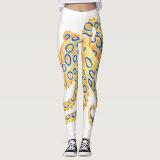 Blaue Ring-Krake Leggings