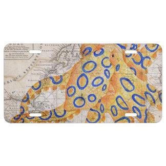 Blaue Ring-Kraken-Karte US Nummernschild