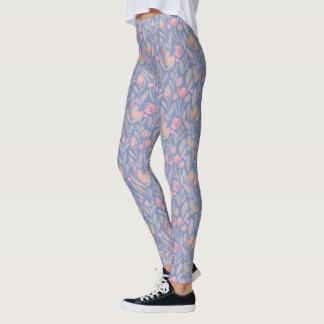 Blaue romantische mit Blumengamaschen Leggings