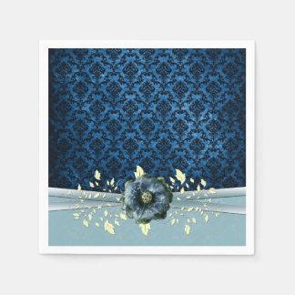 Blaue romantische Rosen-Damast-Luxusservietten Serviette