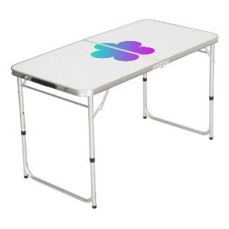 Blaue/rosa Blume auf weißer Ping pong Tabelle Beer Pong Tisch