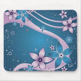 blaue rosa Blumen - vektorkunst Mousepad