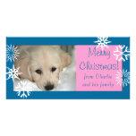 Blaue rosa Schneeflocke-HundeweihnachtsFoto-Karte Bildkarten