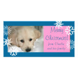 Blaue rosa Schneeflocke-HundeweihnachtsFoto-Karte Individuelle Foto Karte