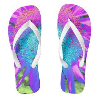 Blaue rosa und lila Sonnenblume Flip Flops